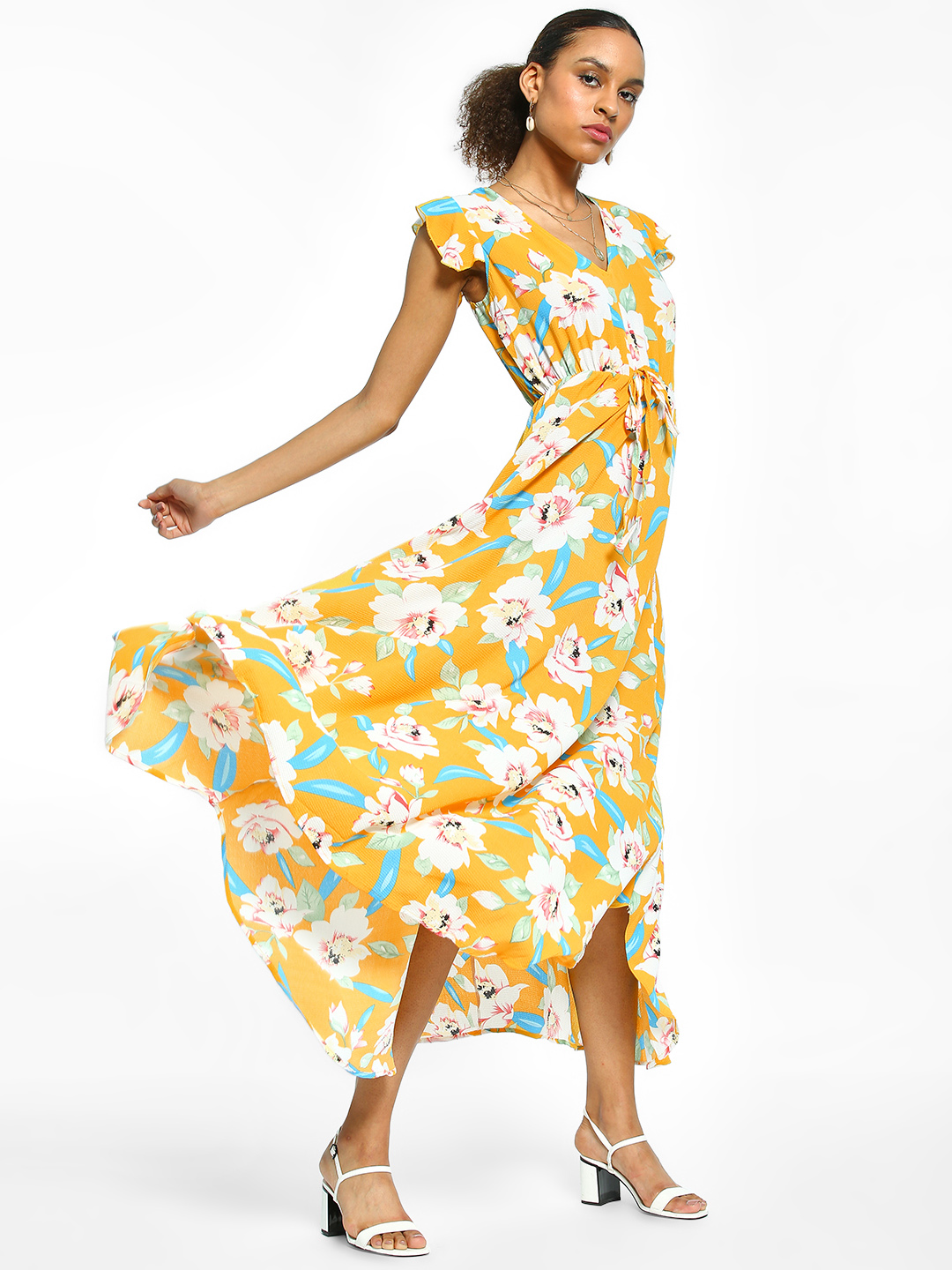 EmmaCloth Yellow Floral Print Maxi Dress 1