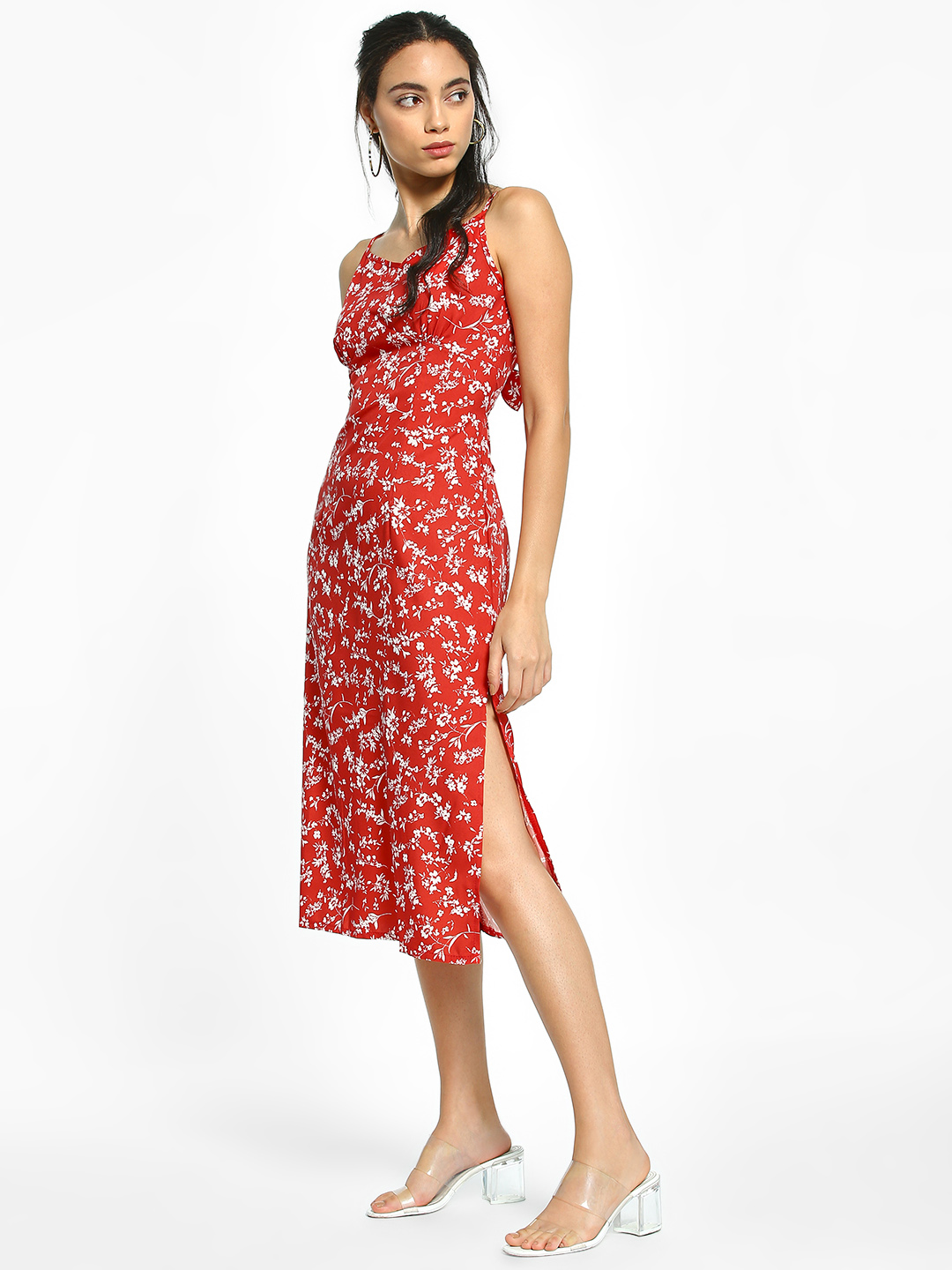 EmmaCloth Red Floral Print Cut-Out Back Midi Dress 1