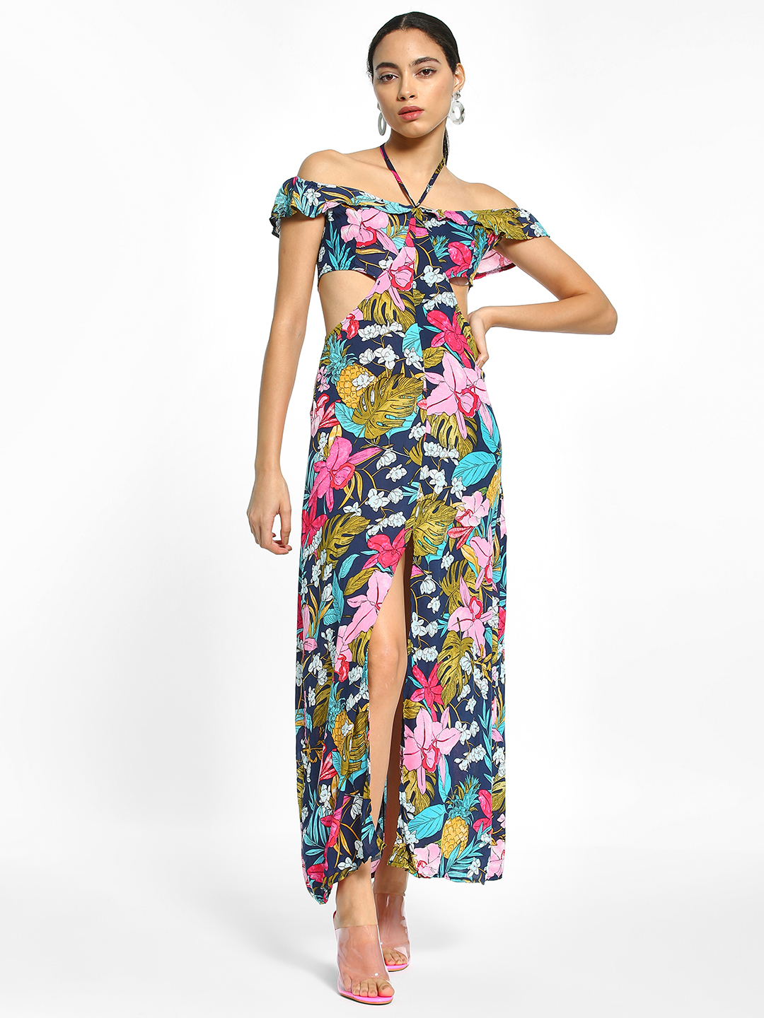 EmmaCloth Multi Floral Print Thigh-High Slit Maxi Dress 1