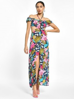 EmmaCloth Floral Print Thigh-High Slit Maxi Dress