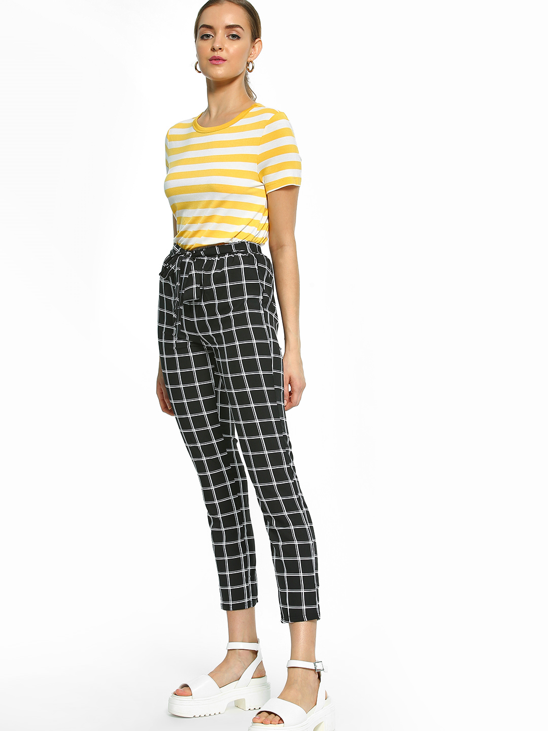 EmmaCloth Multi Grid Check Cropped Paperbag Trousers 1