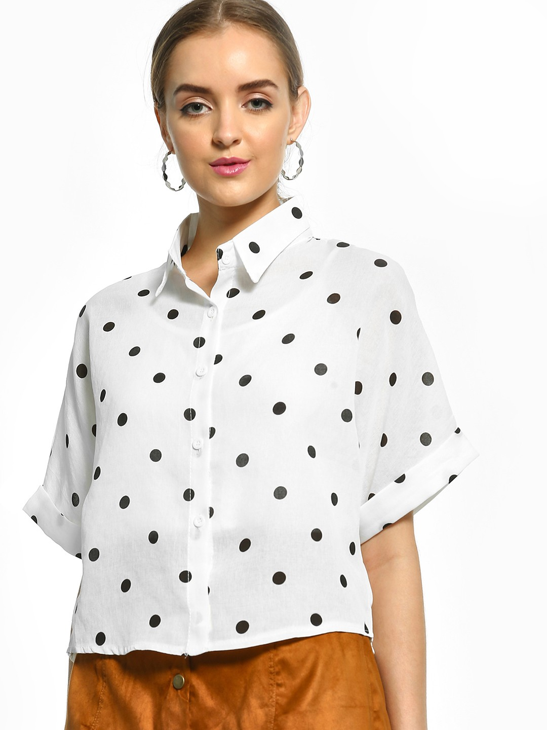 EmmaCloth White Polka Dot Print Shirt 1