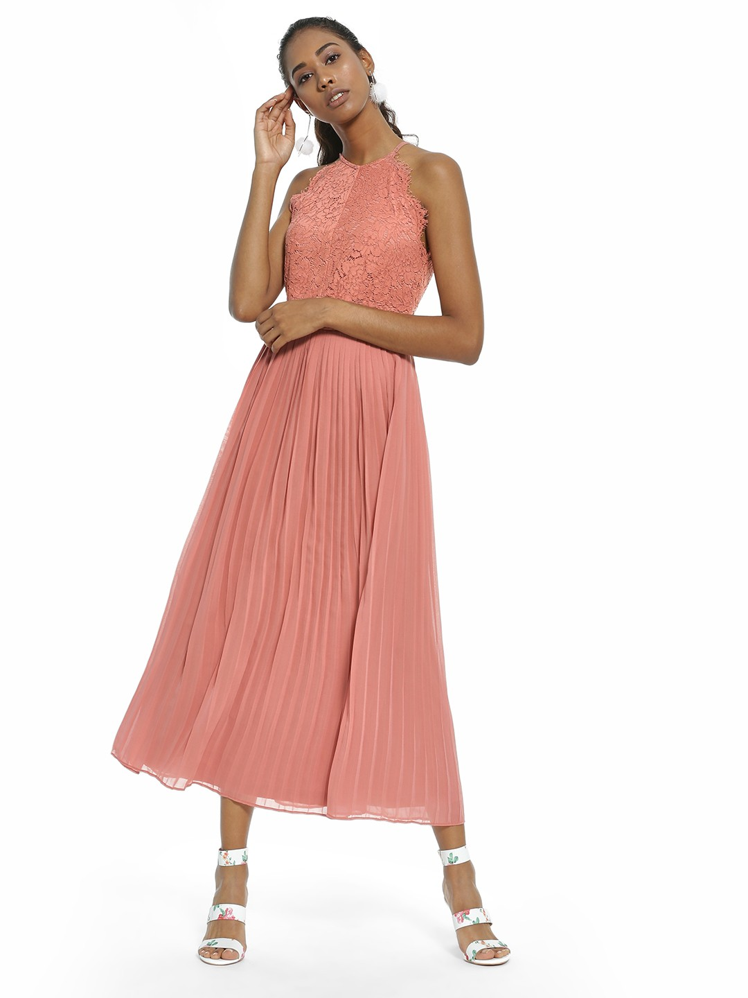Rare London Pink Lace Yoke Pleated Maxi Dress 1