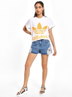 K Denim KOOVS Mid Wash Distressed Shorts