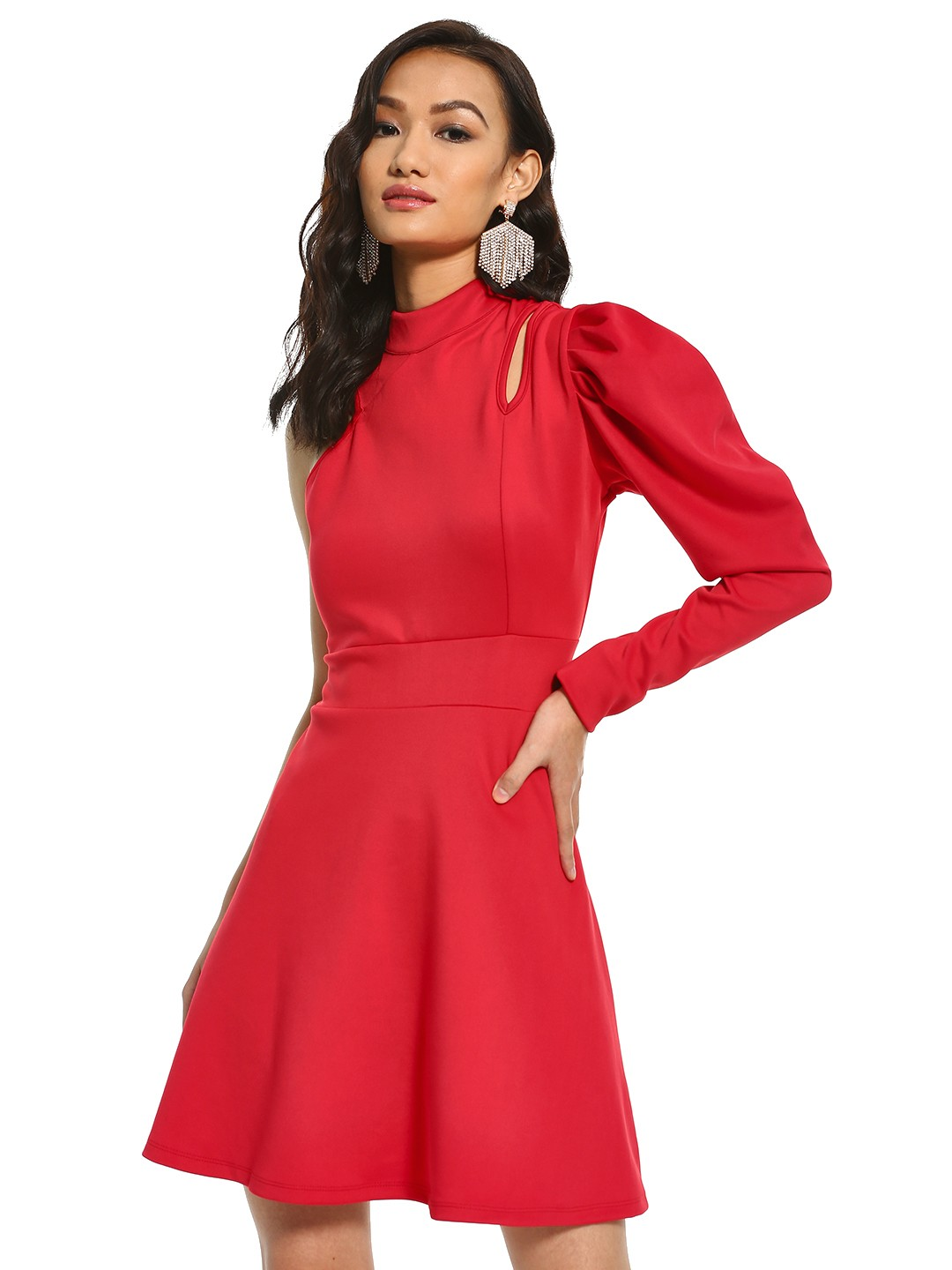 KOOVS Red Puffed Sleeve Skater Dress 1