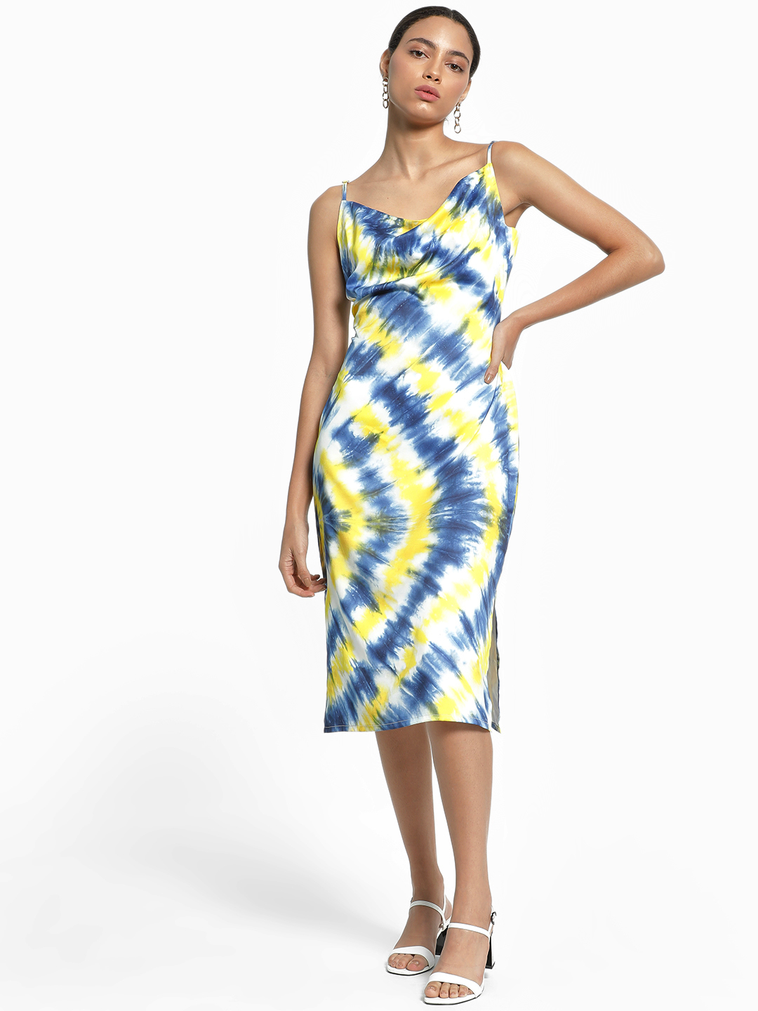KOOVS Multi Tie Dye Cowl Neck Midi Dress 1