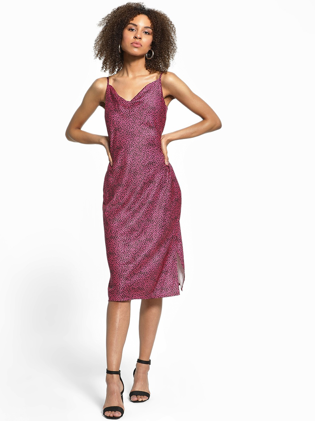 KOOVS Multi Leopard Print Satin Midi Dress 1