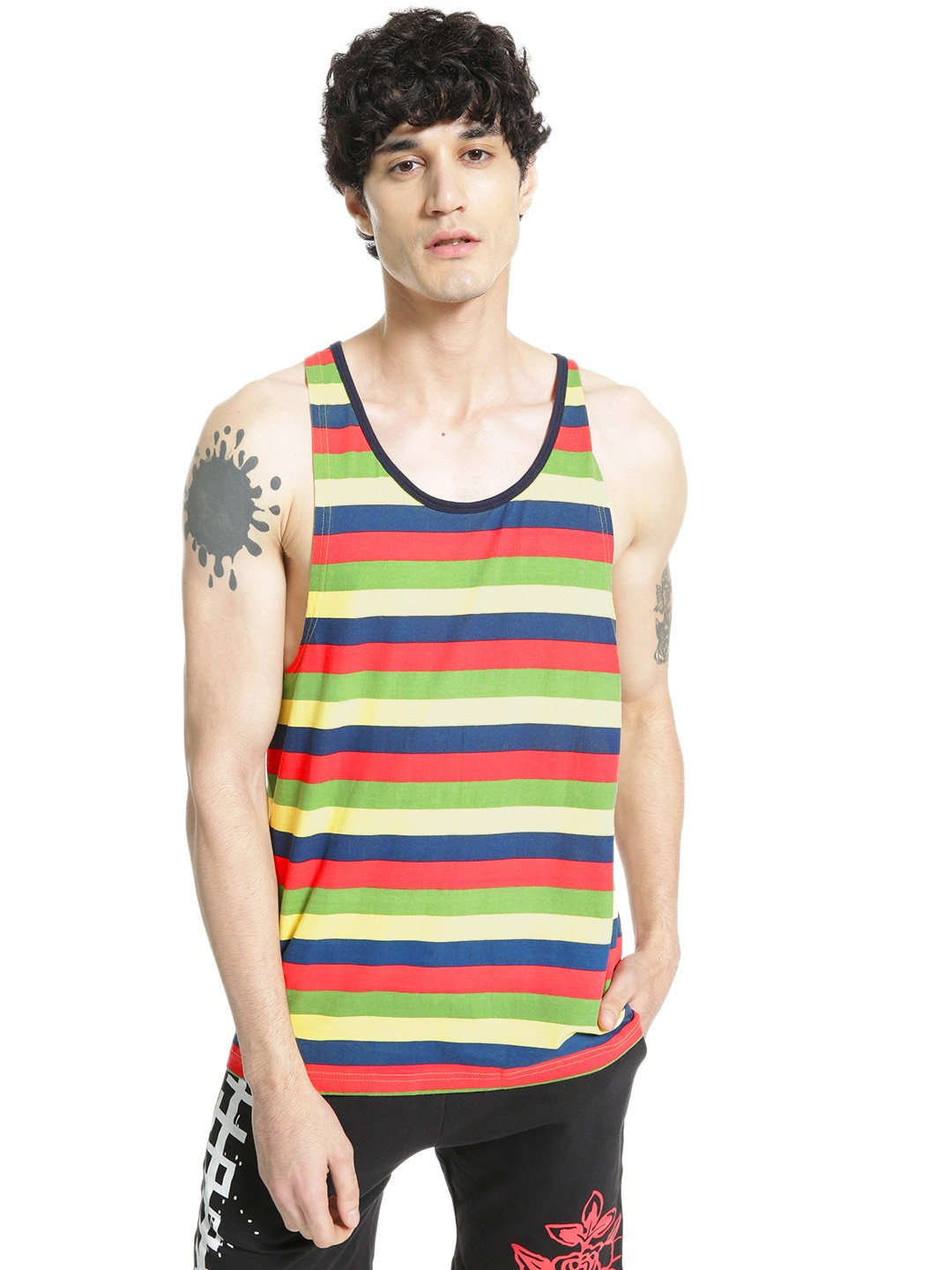 Adamo London Multi Multi-Stripe Scoop Neck Vest 1