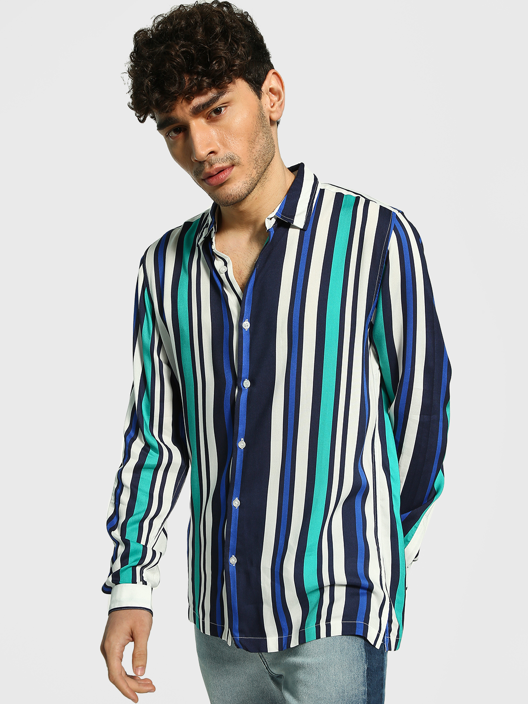 Adamo London Multi Vertical Stripe Long Sleeve Shirt 1