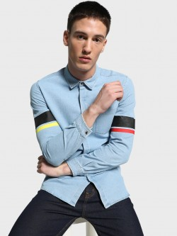 Adamo London Light Wash Varsity Denim Shirt
