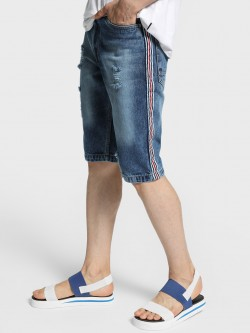 Adamo London Distressed Side Tape Denim Shorts