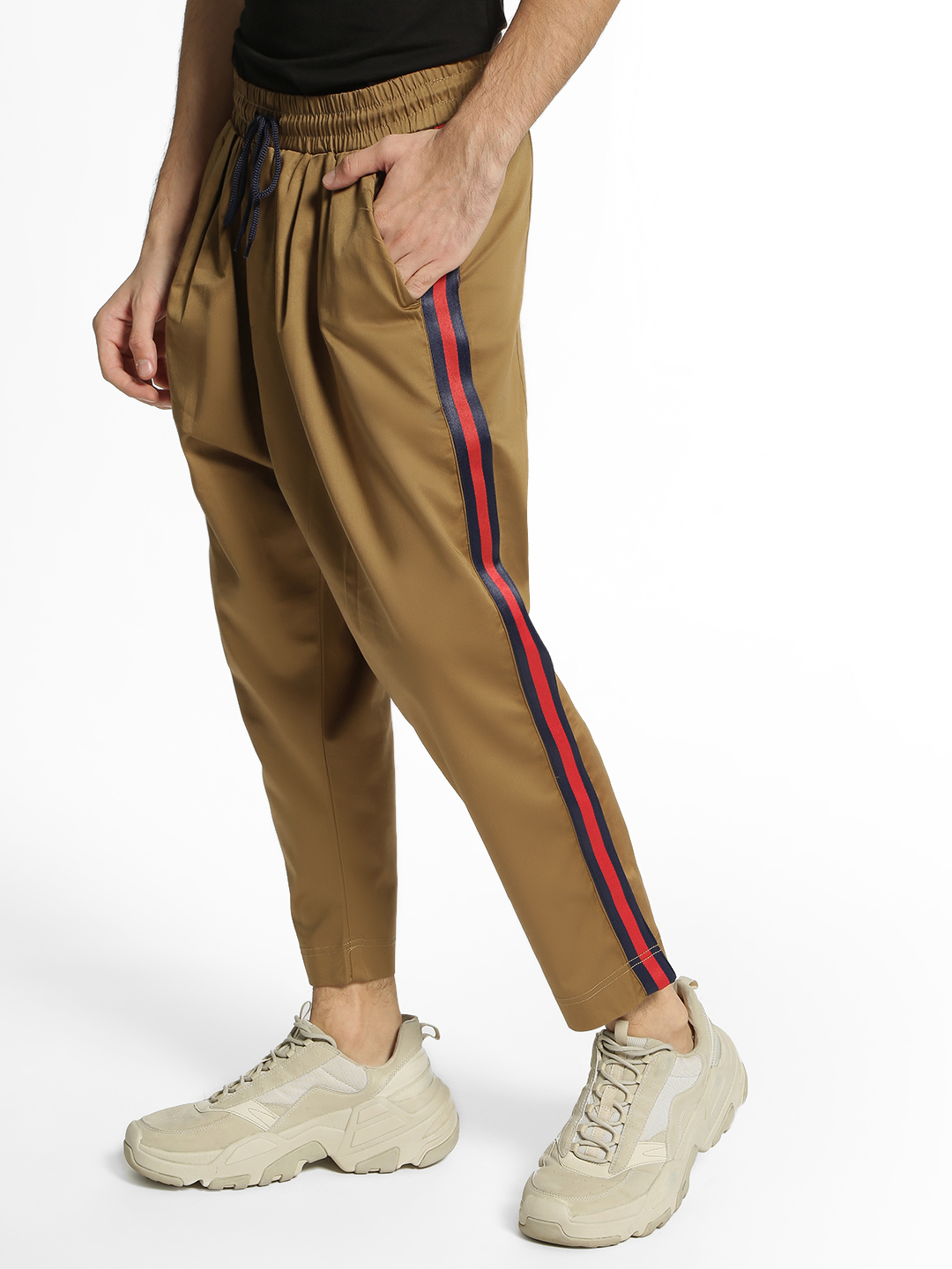 Adamo London Khaki Drop Crotch Side Tape Trousers 1