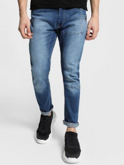 Adamo London Light Wash Panelled Slim Jeans