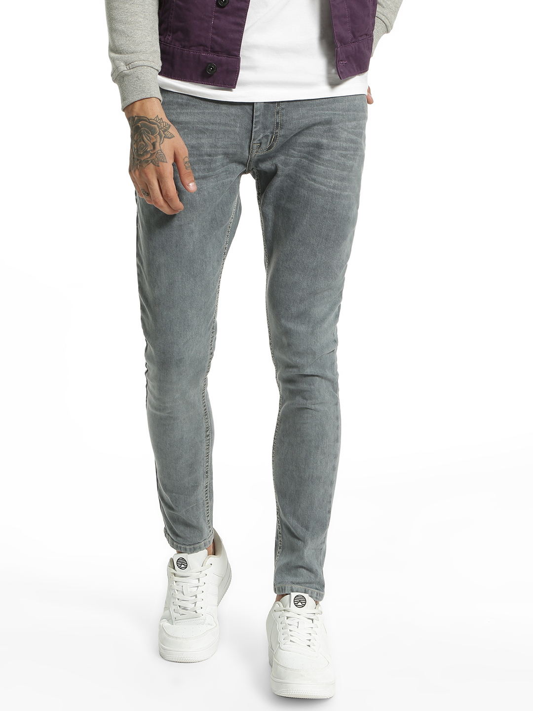 Adamo London Grey Washed Skinny Fit Jeans 1