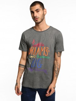 Adamo London Washed Slogan Print T-Shirt