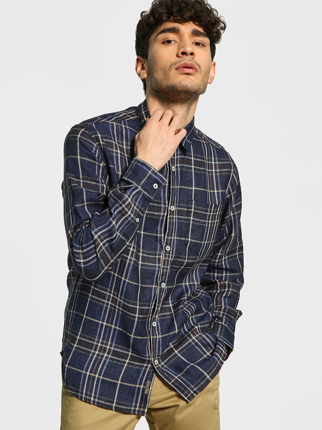 Buffalo Blue Multi-Check Linen Shirt 1