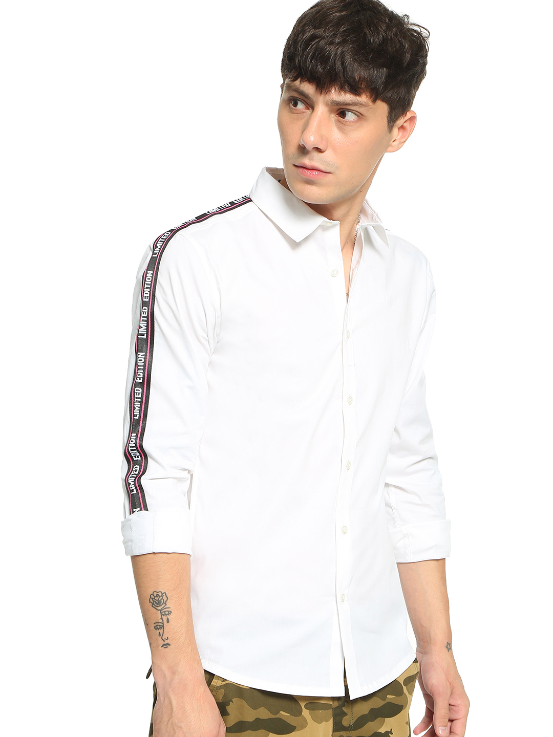 TRUE RUG White Text Print Tape Long Sleeve Shirt 1