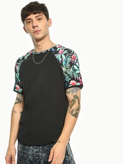 TRUE RUG Tropical Floral Print Panel T-Shirt