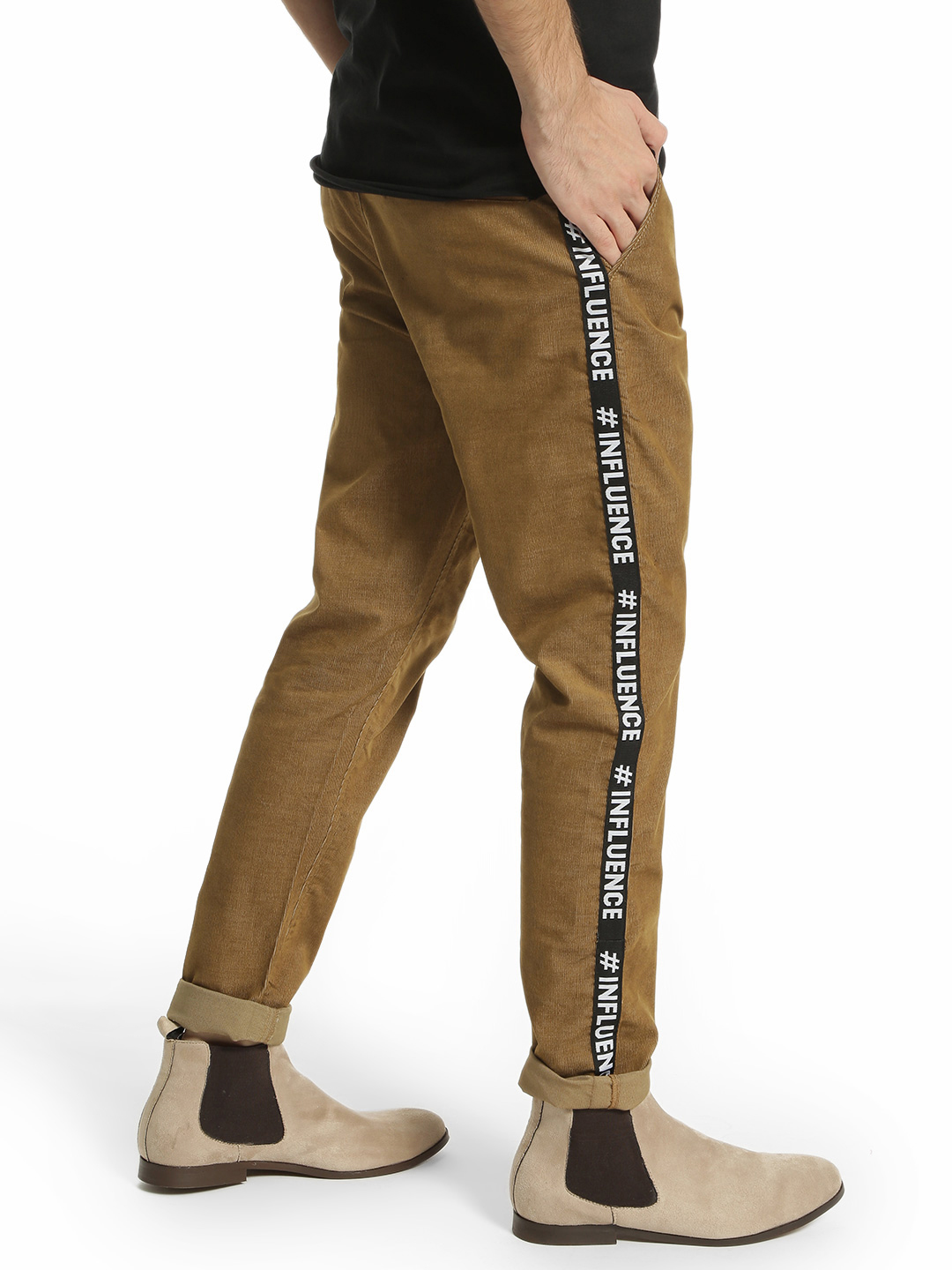 TRUE RUG Brown Side Text Tape Corduroy Trousers 1