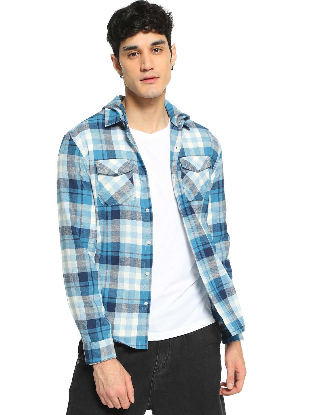 TRUE RUG Multi Woven Flannel Check Hooded Shirt 1
