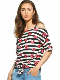 UMM Stripe-Lips Print Cold Shoulder Top