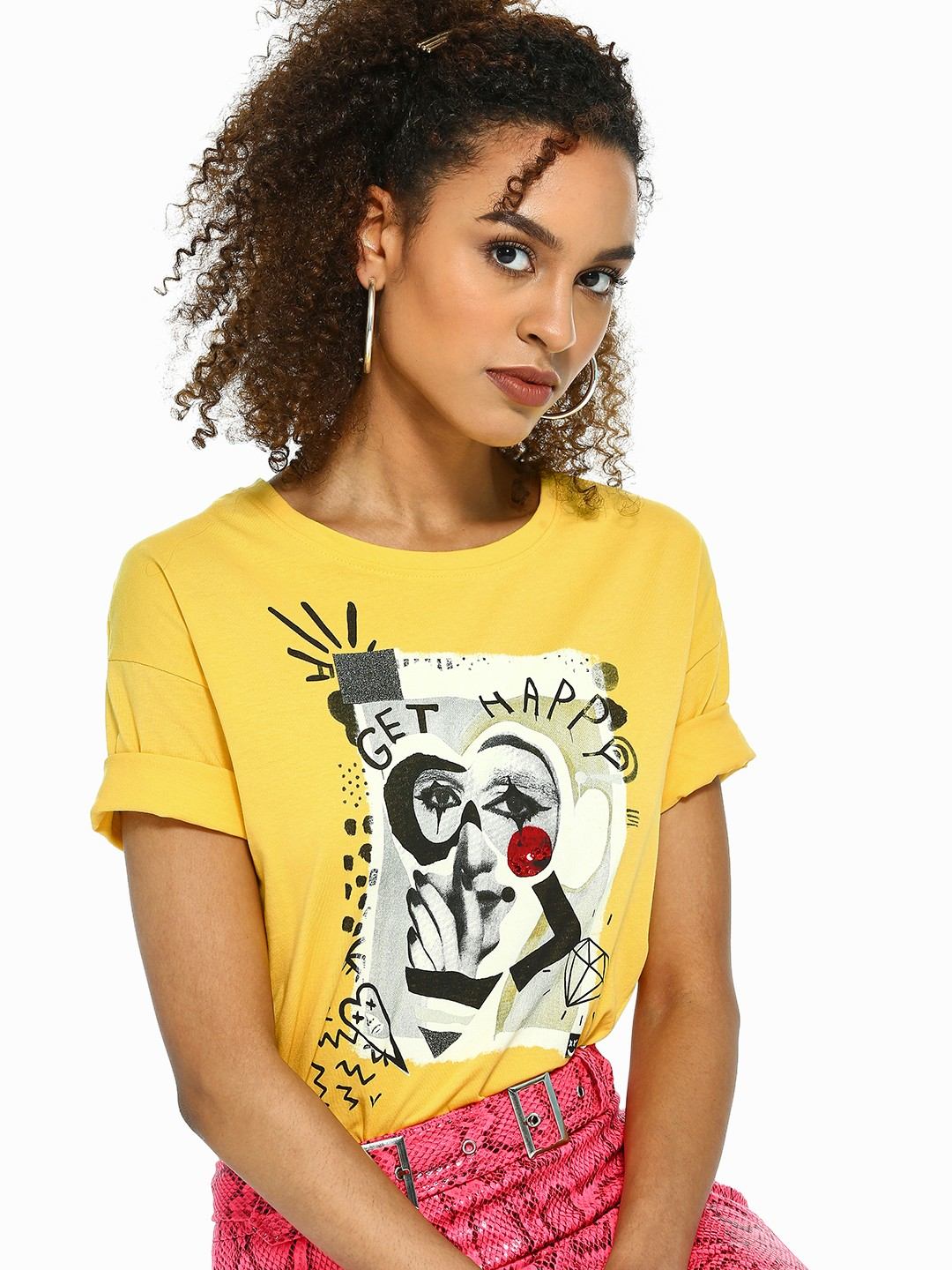 UMM Yellow Celebrity Placement Print Embellished T-Shirt 1