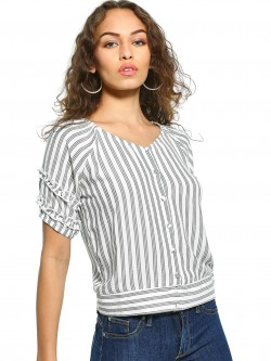 UMM Stripe Button Down Top