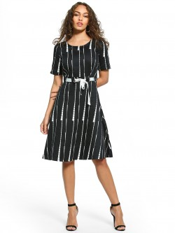 UMM Broken Stripe Belted A-Line Dress