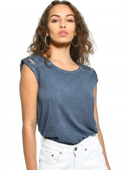 UMM Cut-Out Stud Embellished T-Shirt
