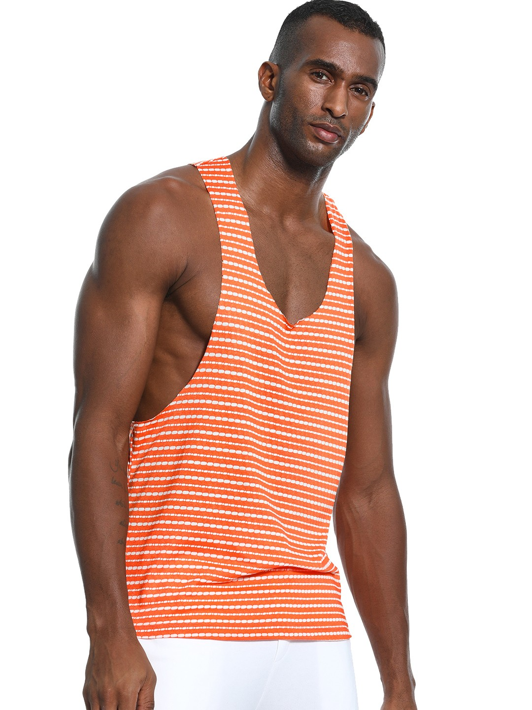 KOOVS Multi Textured Stripe Raw Edge Vest 1