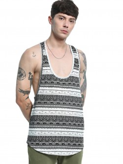 KOOVS Tribal Stripe Extreme Scoop Vest