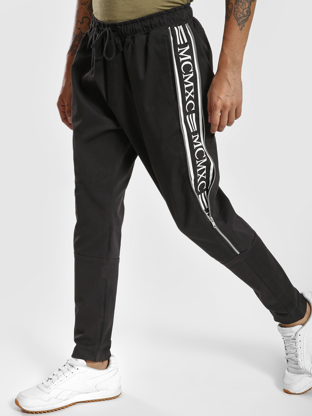 KOOVS Black Text Tape Zipper Jog Pants 1