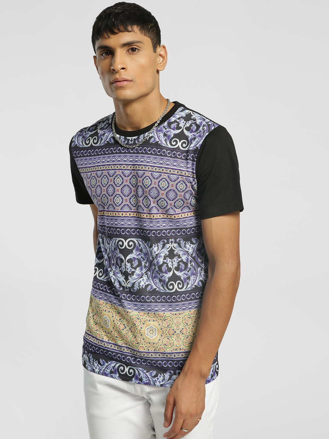 KOOVS Multi Baroque Print Muscle Fit T-Shirt 1