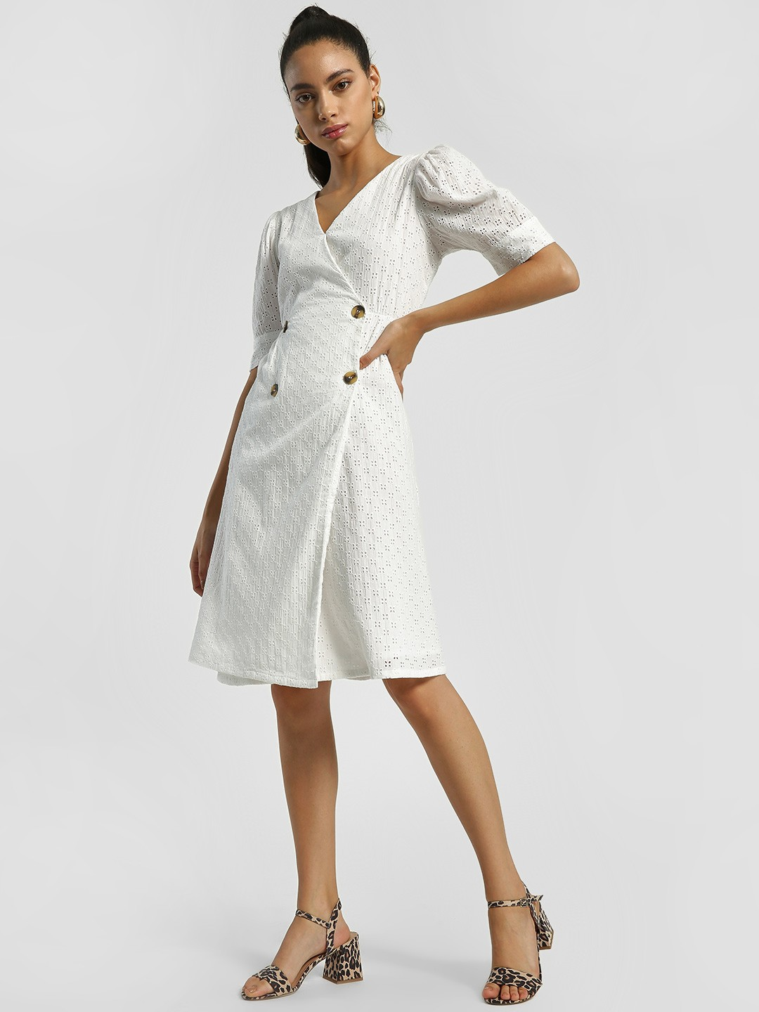 Rena Love White Broderie Wrap Midi Dress 1