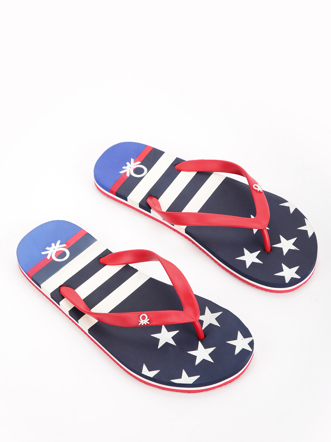 United Colors of Benetton Black Star Stripe Print Logo Flip Flops 1