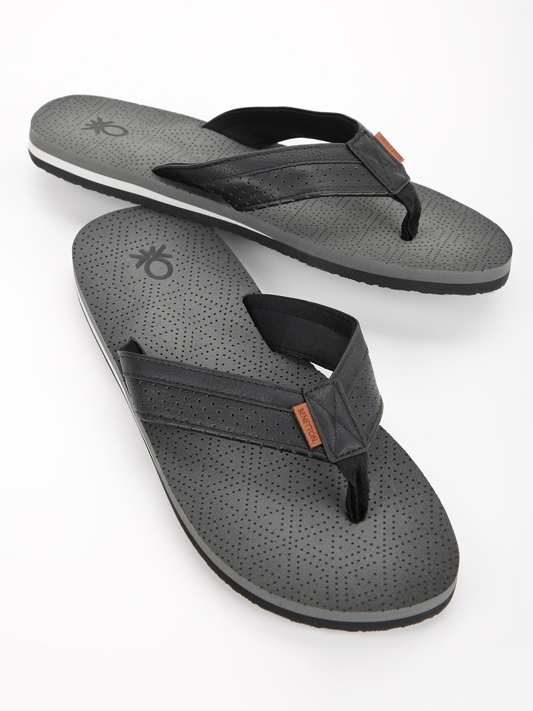 United Colors of Benetton Grey Perforated Logo Flip Flops 1