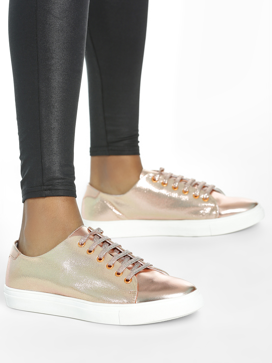 ADORLY Rose Gold Metallic Lace-Up Sneakers 1