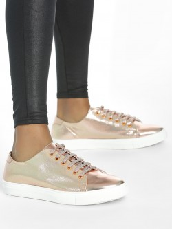 ADORLY Metallic Lace-Up Sneakers