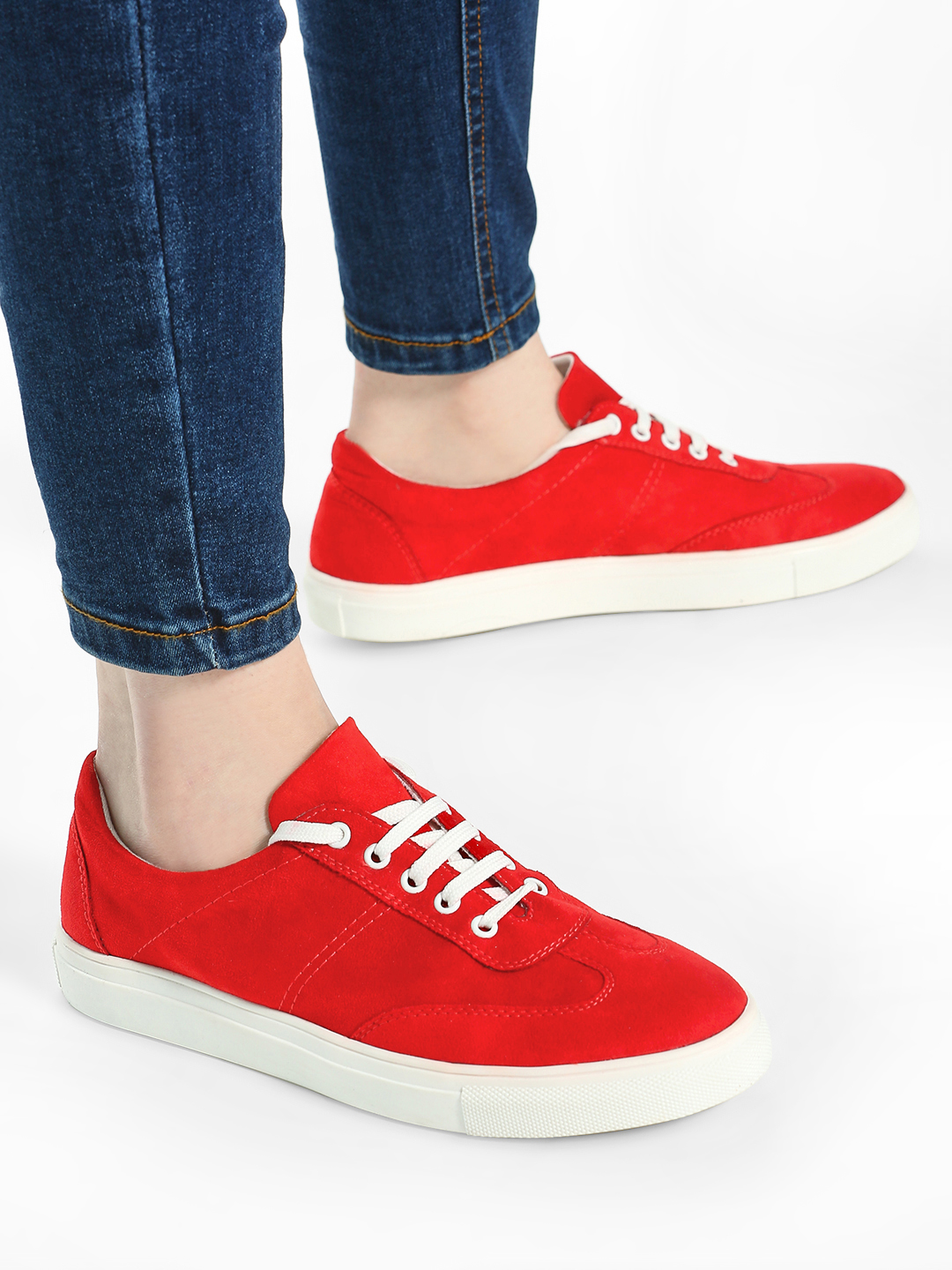 ADORLY Red Suede Lace-Up Sneakers 1