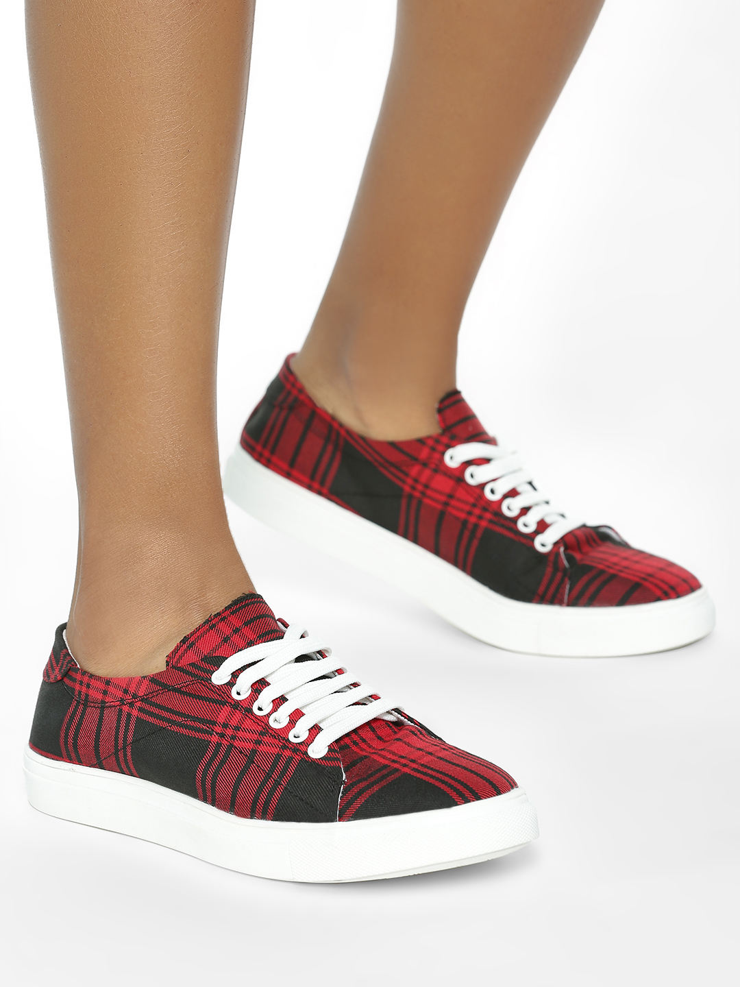 ADORLY Red Plaid Check Sneakers 1