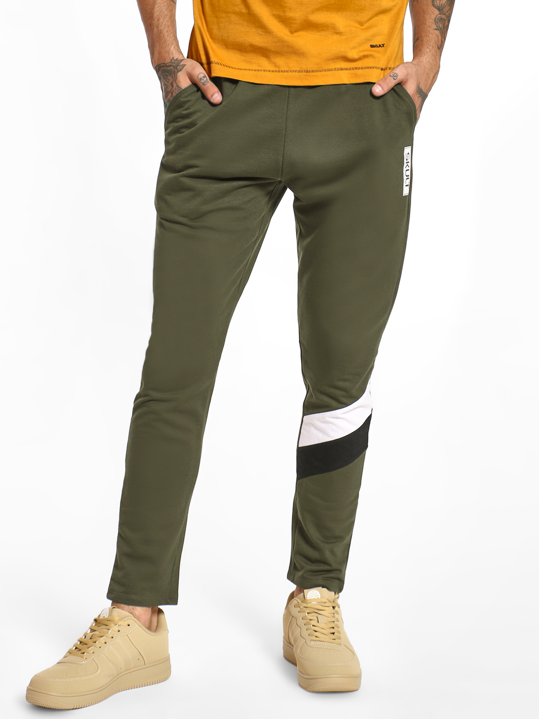 SKULT By Shahid Kapoor Green Cut & Sew Contrast Panel Joggers 1