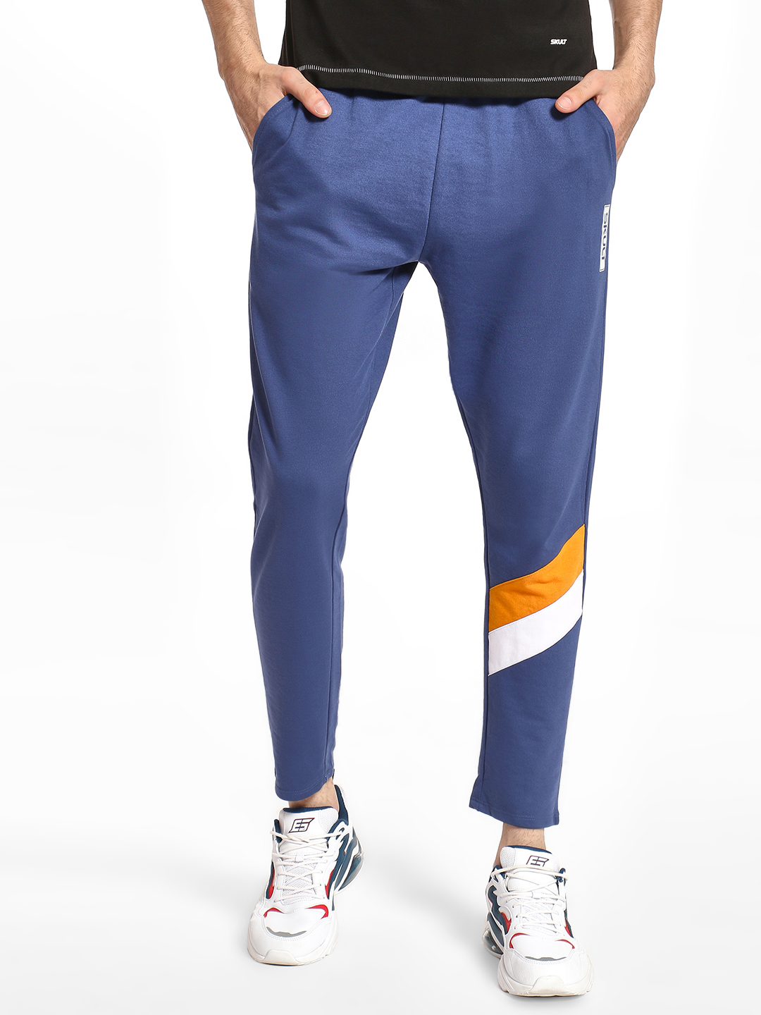 SKULT By Shahid Kapoor BRIGHT BLUE Cut & Sew Contrast Panel Joggers 1