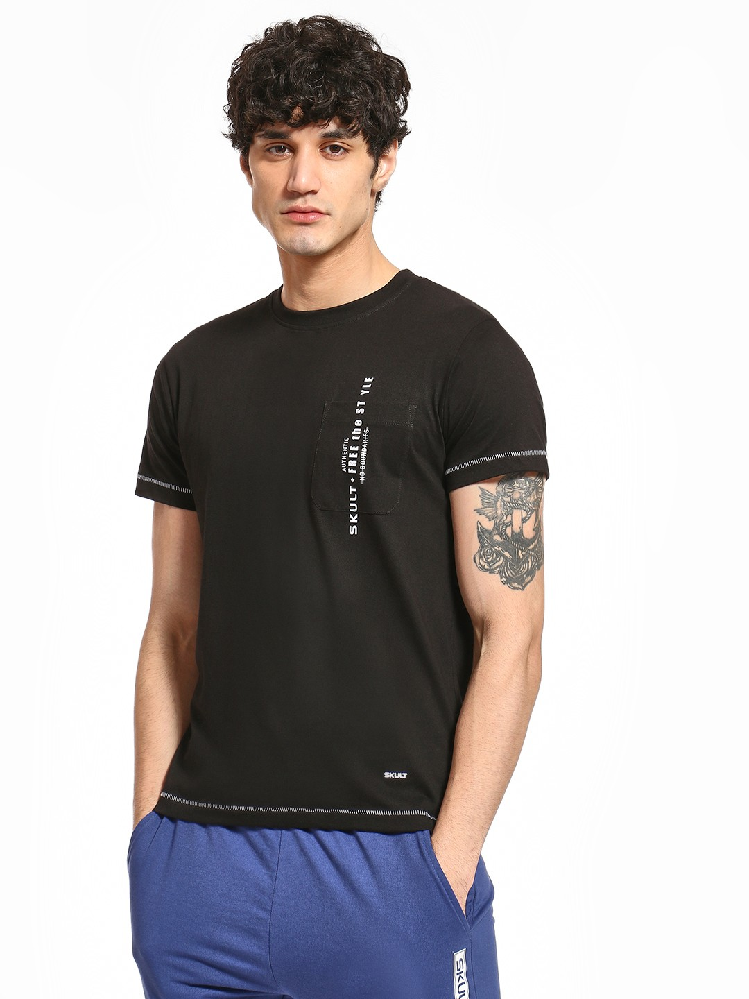 SKULT By Shahid Kapoor Black Pocket Slogan Print T-Shirt 1