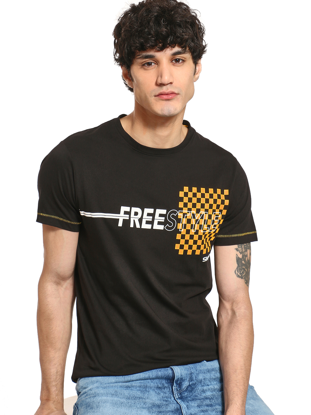 SKULT By Shahid Kapoor Black Checkerboard Freestyle Print T-Shirt 1