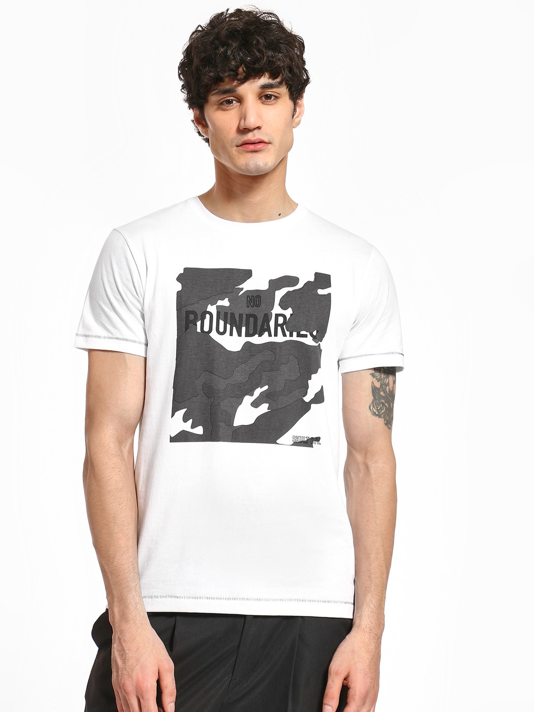 SKULT By Shahid Kapoor White Camo Text Placement Print T-Shirt 1