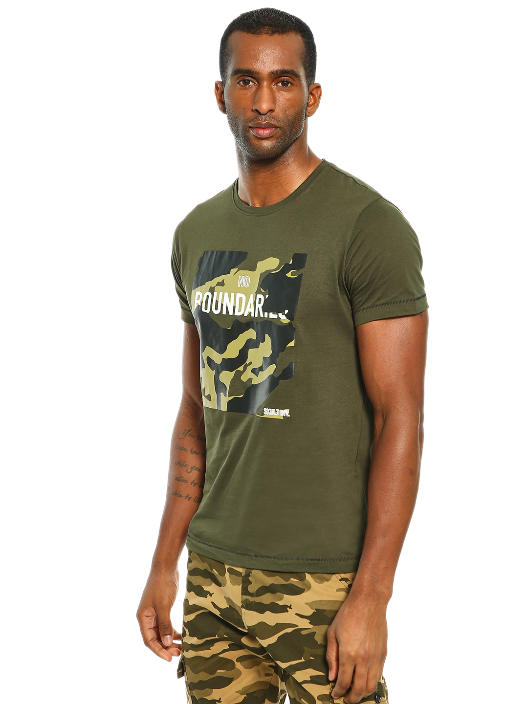 SKULT By Shahid Kapoor Olive Camo Text Placement Print T-Shirt 1