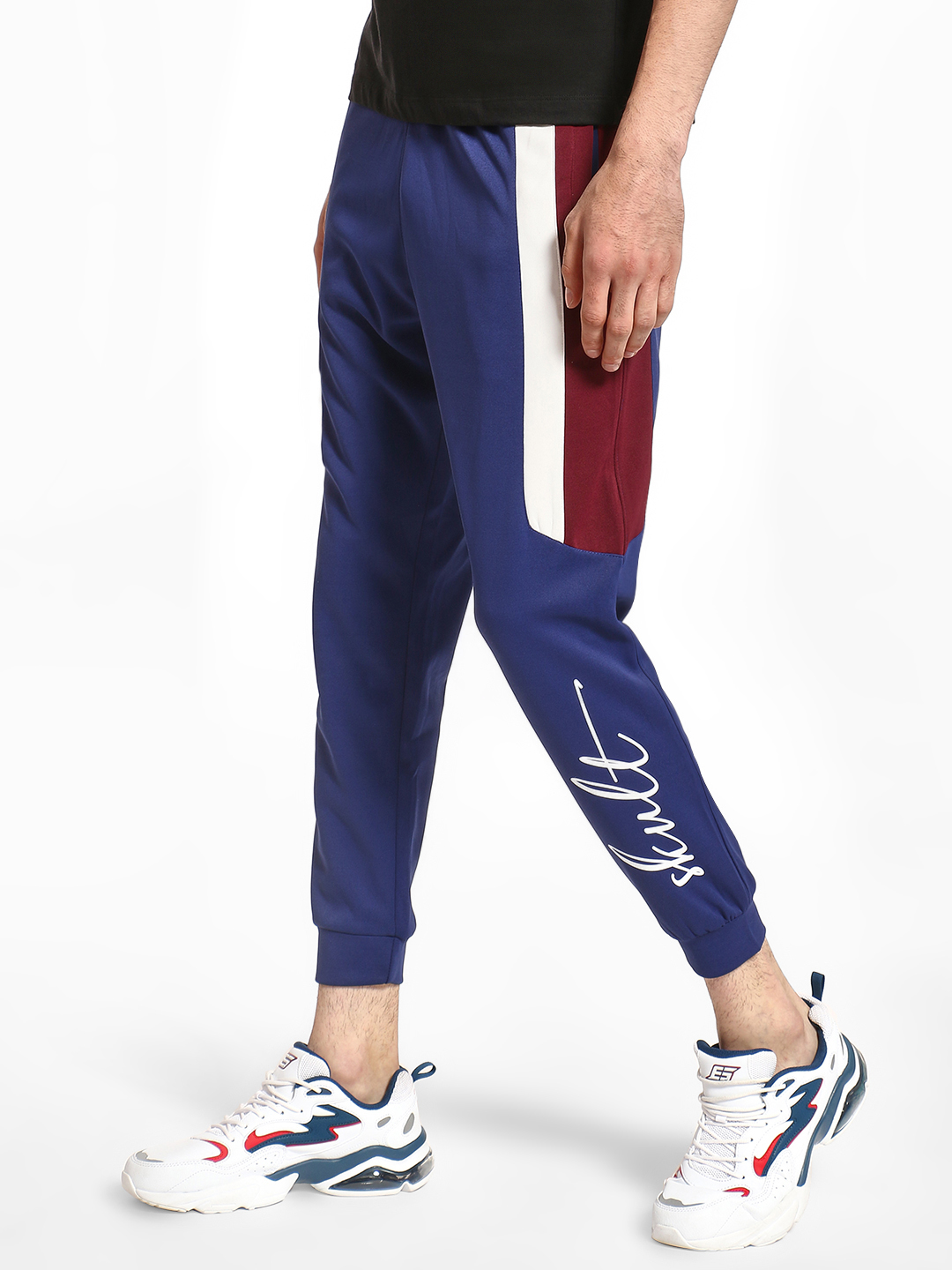 SKULT By Shahid Kapoor BRIGHT BLUE Contrast Side Panel Interlock Joggers 1
