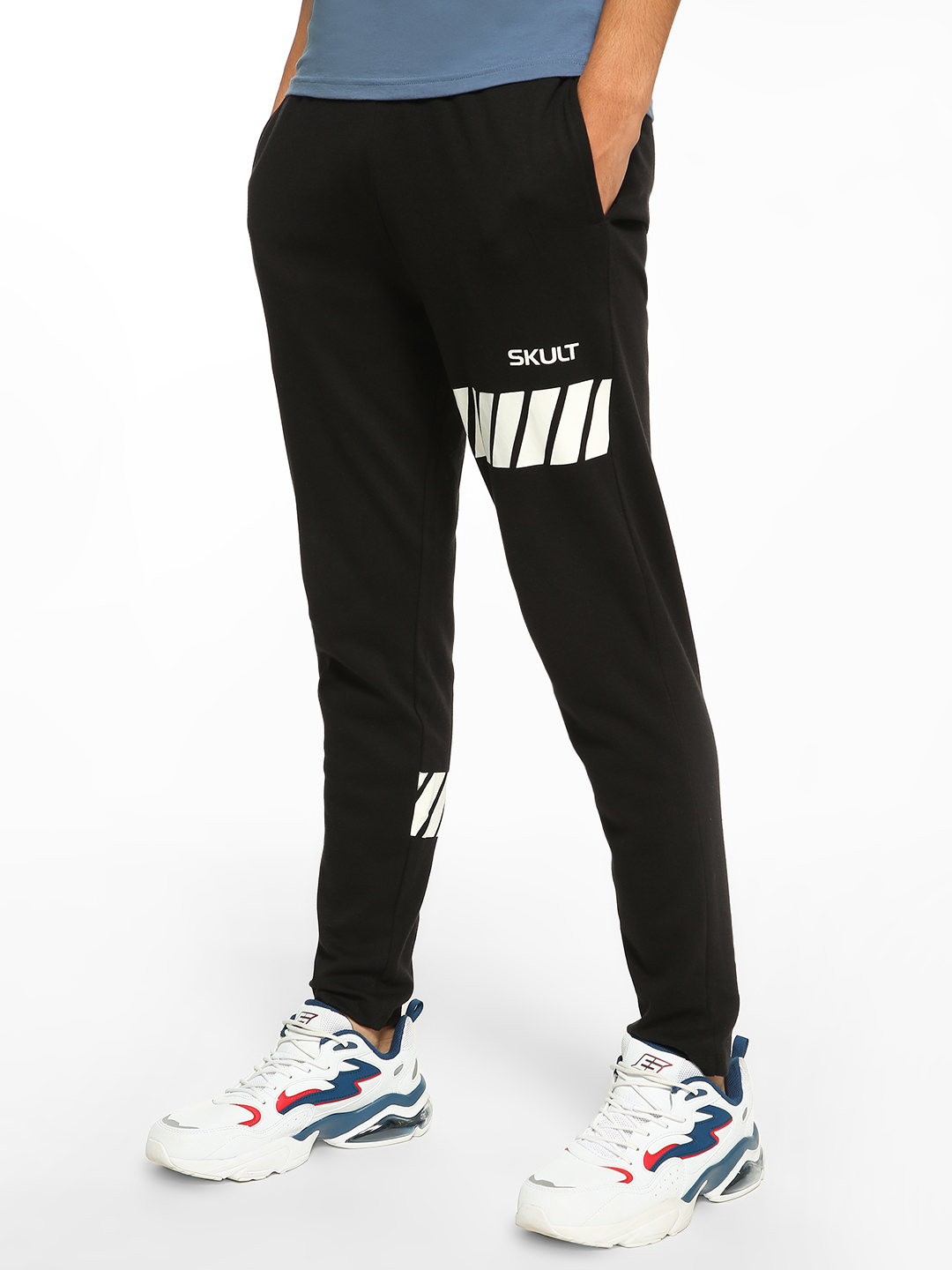 SKULT By Shahid Kapoor Black Racer Track Print Joggers 1