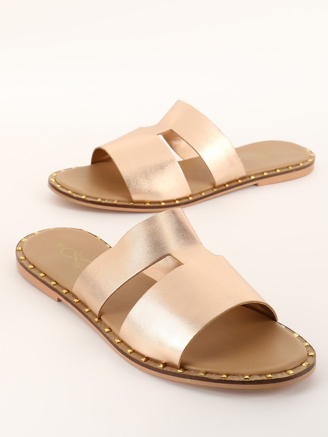 ILLIMITE Rose Gold H-Shaped Metallic Strap Flat Sandals 1