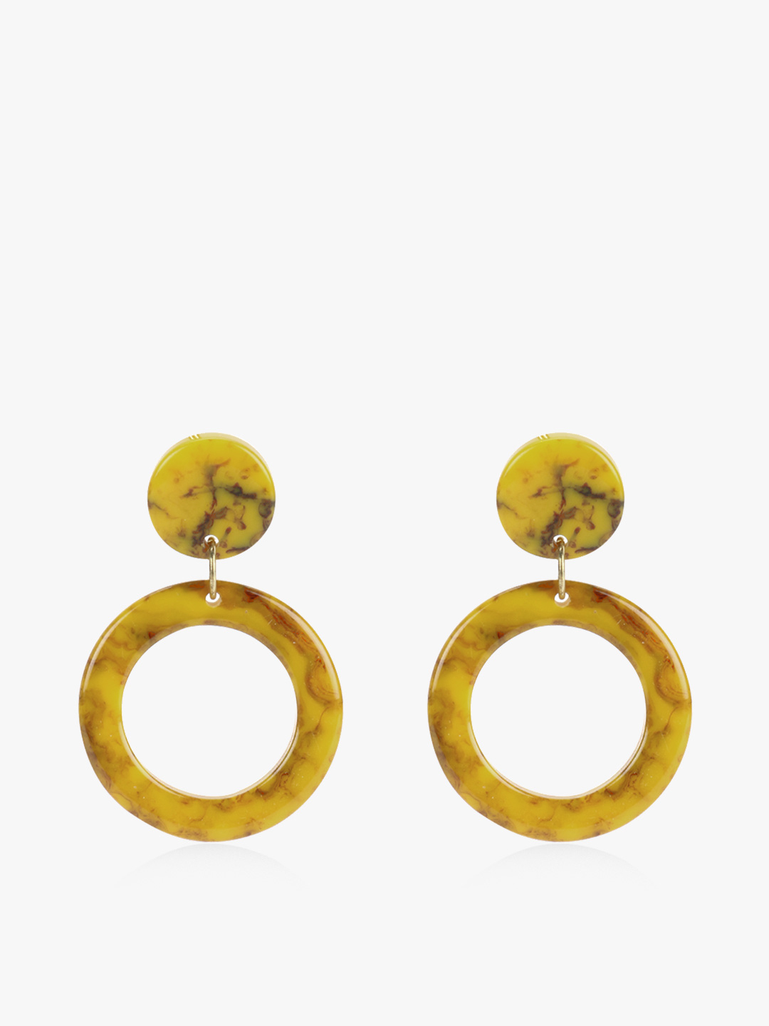 Blueberry Yellow Round Marble Resin Earrings 1